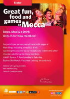 Bingo, Meal & A Drink Only £5 For New Members